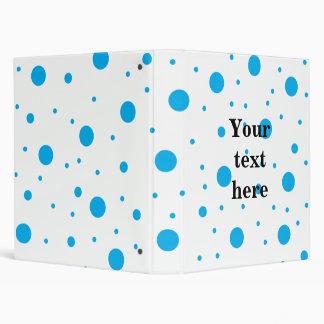 Blue tiny and big polka dots binder