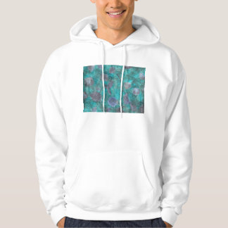 Blue tissue paper collage with rose petals hoodies