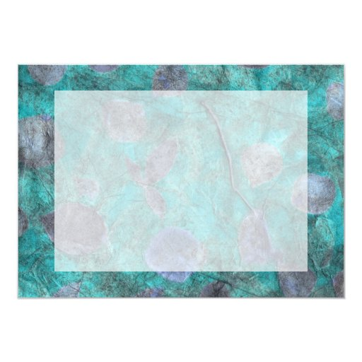 Blue tissue paper collage with rose petals 5x7 paper invitation card