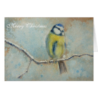 Blue Tit Painting Christmas Card