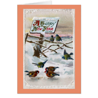 Blue Tits and Goldfinches Vintage New Year Card