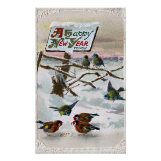 Blue Tits and Goldfinches Vintage New Year Poster