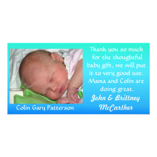 Blue to Green Gradient Baby photo thank you cards