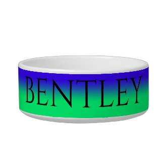 Blue to Green Ombre Personalized Dog's Name Bowl