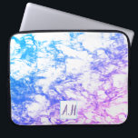 "Blue to Purple Marble Ombre Initials Laptop Sleeve<br><div class=""desc"">Inspired by marble,  Urbann_Ink designs has produced a beautiful laptop sleeve for the girl who loves both pink and blue  in a vibrant display. Add a touch of class with the customisable initial box and buy as the perfect gift,  or treat yourself!</div>"