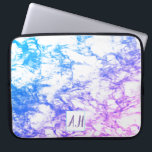 """Blue to Purple Marble Ombre Initials Laptop Sleeve<br><div class=""""desc"""">Inspired by marble,  Urbann_Ink designs has produced a beautiful laptop sleeve for the girl who loves both pink and blue  in a vibrant display. Add a touch of class with the customisable initial box and buy as the perfect gift,  or treat yourself!</div>"""
