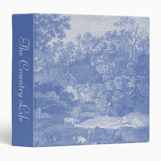 Blue Toil de Jouy French Country Shabby Elegance 3 Ring Binder