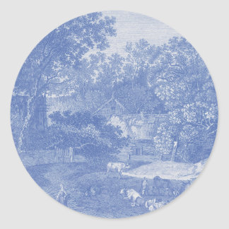 Blue Toil de Jouy French Country Shabby Elegance Classic Round Sticker