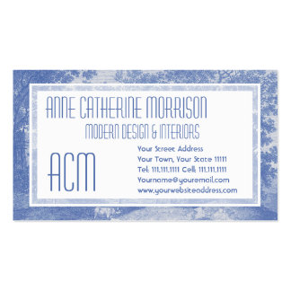 Blue Toil de Jouy French Country Shabby Elegance Double-Sided Standard Business Cards (Pack Of 100)