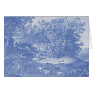 Blue Toil de Jouy French Country Shabby Elegance Greeting Card