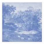 Blue Toil de Jouy French Country Shabby Elegance 5.25x5.25 Square Paper Invitation Card