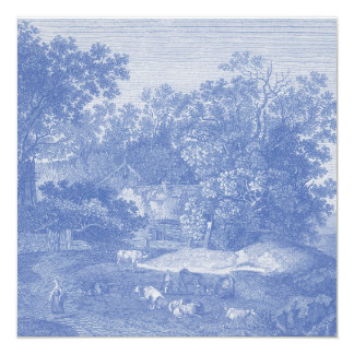 Blue Toil de Jouy French Country Shabby Elegance Invitation