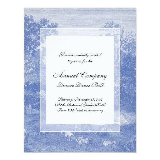 "Blue Toil de Jouy French Country Shabby Elegance 4.25"" X 5.5"" Invitation Card"
