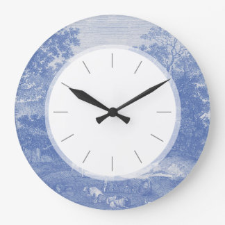 Blue Toil de Jouy French Country Shabby Elegance Large Clock