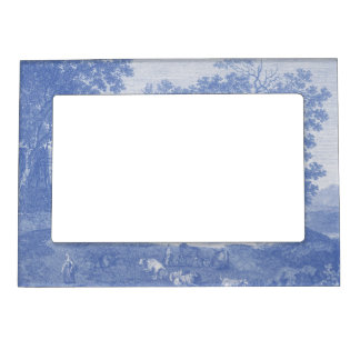 Blue Toil de Jouy French Country Shabby Elegance Magnetic Frame