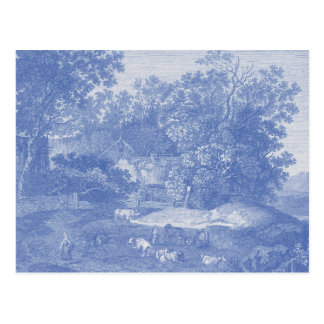 Blue Toil de Jouy French Country Shabby Elegance Postcard