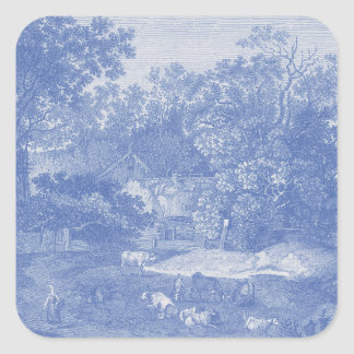 Blue Toil de Jouy French Country Shabby Elegance Square Sticker
