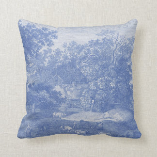 Blue Toil de Jouy French Country Shabby Elegance Throw Pillow
