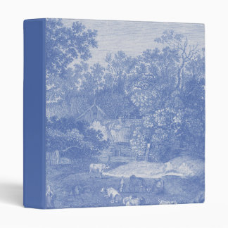 Blue Toil de Jouy French Country Shabby Elegance Vinyl Binders