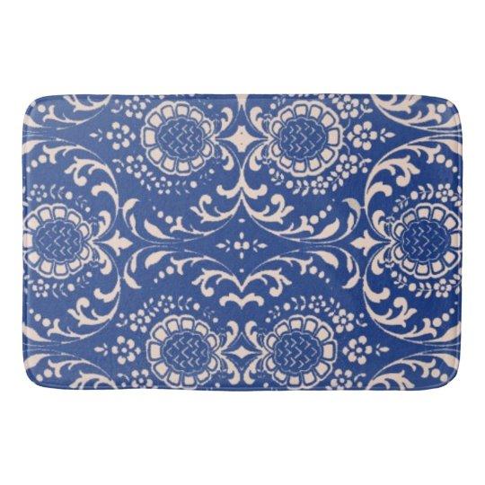 Black And White Toile Rug: Blue Toile Bathroom Rug! Bath Mat