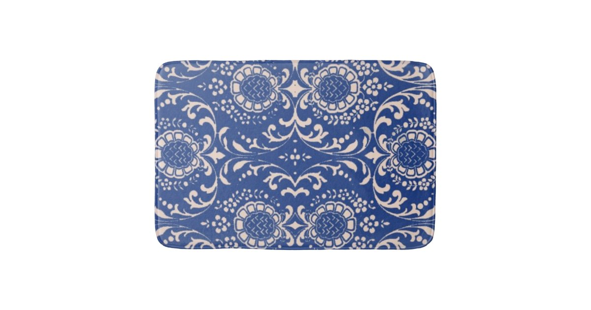 Blue Toile Bathroom Rug Bath Mat
