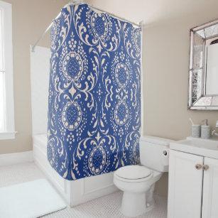 Blue Toile Bathroom Shower Curtain