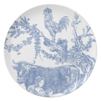 Blue Toile - Cow & Roster Dinner Plates