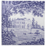 Blue Toile Dinner Napkins - French Country Decor