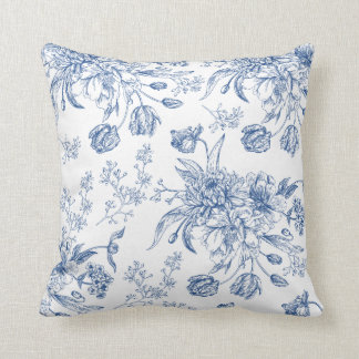 Blue Toile Flowers Throw Pillow