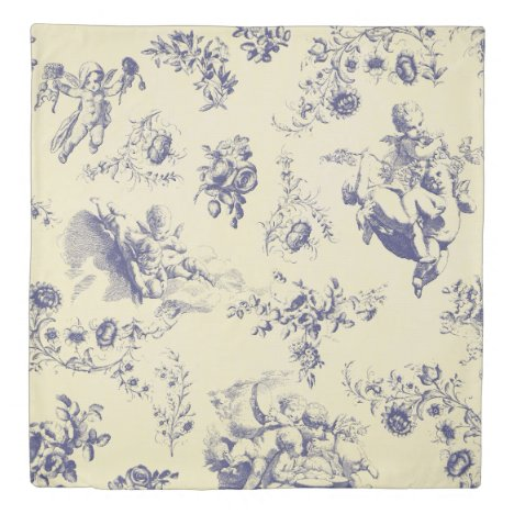 Blue Toile French Country Cherub Pattern Duvet Cover