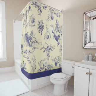 Blue Toile French Country Cherub Pattern Shower Curtain