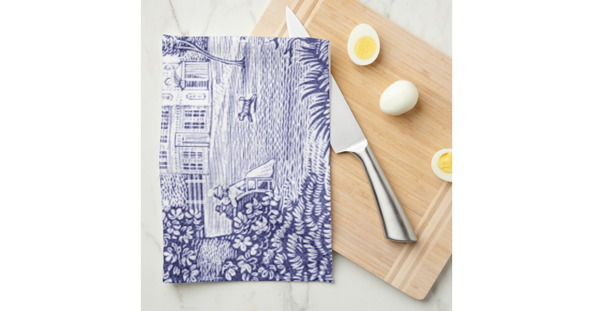 blue toile kitchen towel