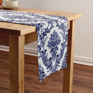 Blue Toile Short Table Runner