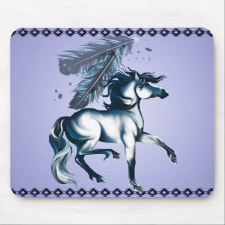 Blue Tone Horse and Feather Mousepad