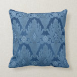Blue Tone on Tone IKAT Damask Moroccan Pattern Art Pillow