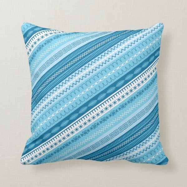 Blue toned stripes overlaid sewing stitches throw pillow