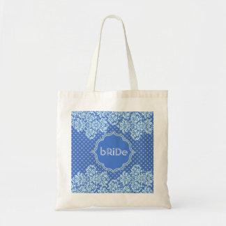 Blue Tones Polka-Dot And Floral Pattern-Monogram Tote Bag