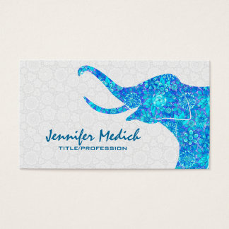 Blue Tones Retro Floral Elephant Business Card