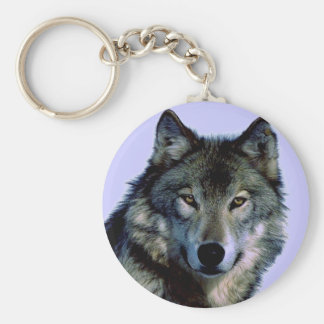 Blue Tones Wolf Portrait Key Chain