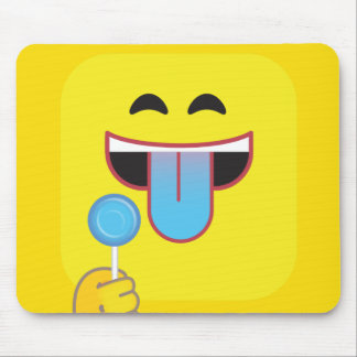 Blue Tongue Emoji Mouse Pad