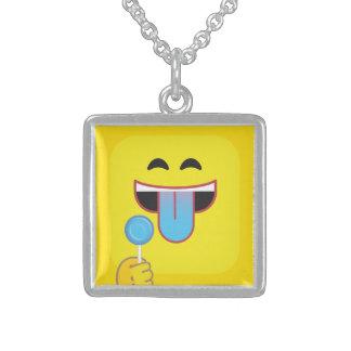 Blue Tongue Emoticon Sterling Silver Necklace