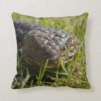 Blue_Tongue_Lizard_Face,_Cotton_Square_Cushion. Throw Pillow