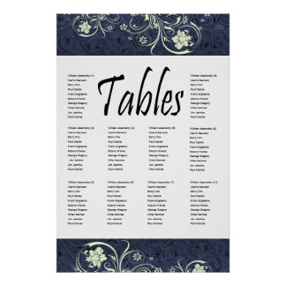 Blue Tooled Leather and Cream Lace Seating Chart Print