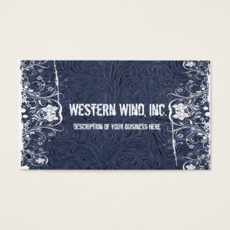Blue Tooled Leather and Lace Business Card