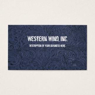 Blue Tooled Leather Business Card