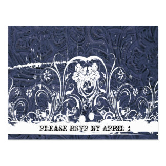 Blue Tooled Leather RSVP Postcard