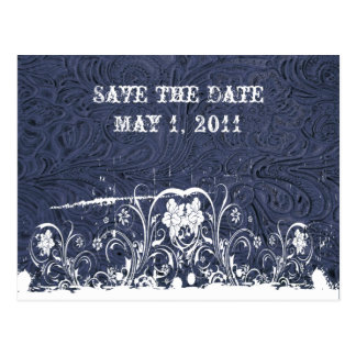 Blue Tooled Leather Save the Date Postcard