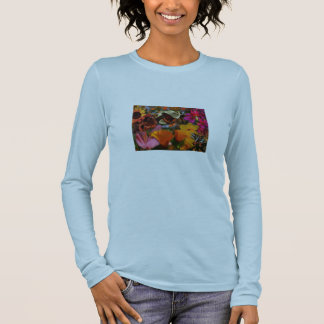 Blue top with Red colors flower garden