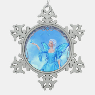 Blue Topaz Birthstone Fairy Snowflake Ornament