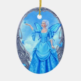Blue Topaz Birthstones Fairy Oval Ceramic Ornament